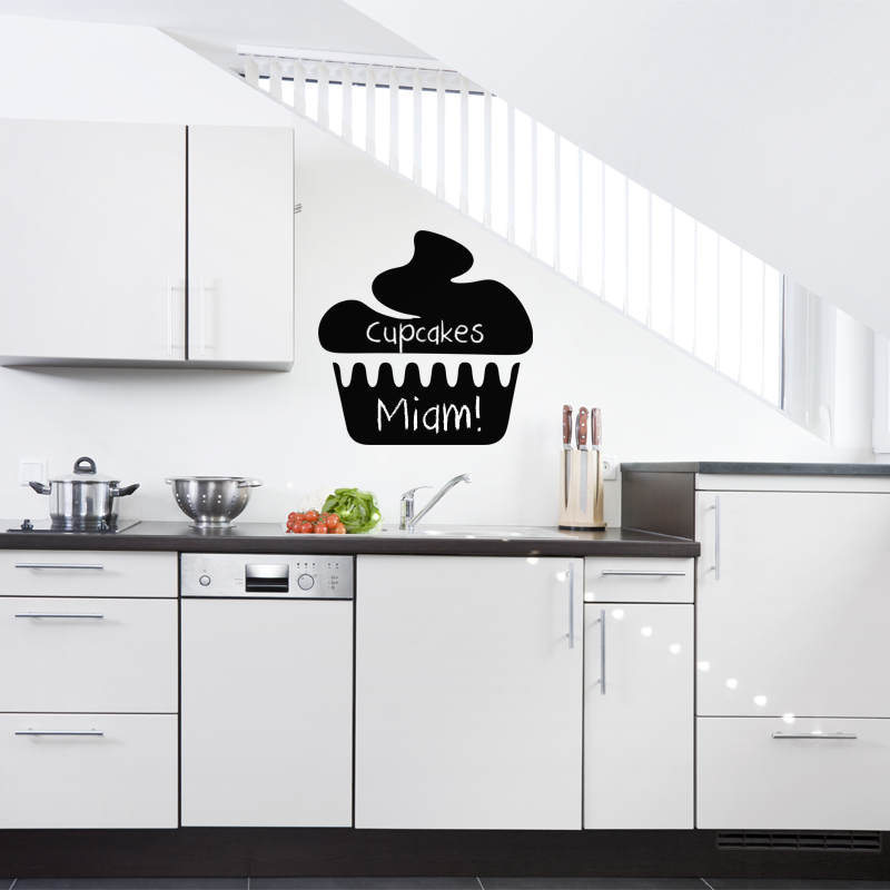 sticker ardoise design cupcake stickers cuisine ambiance sticker. Black Bedroom Furniture Sets. Home Design Ideas