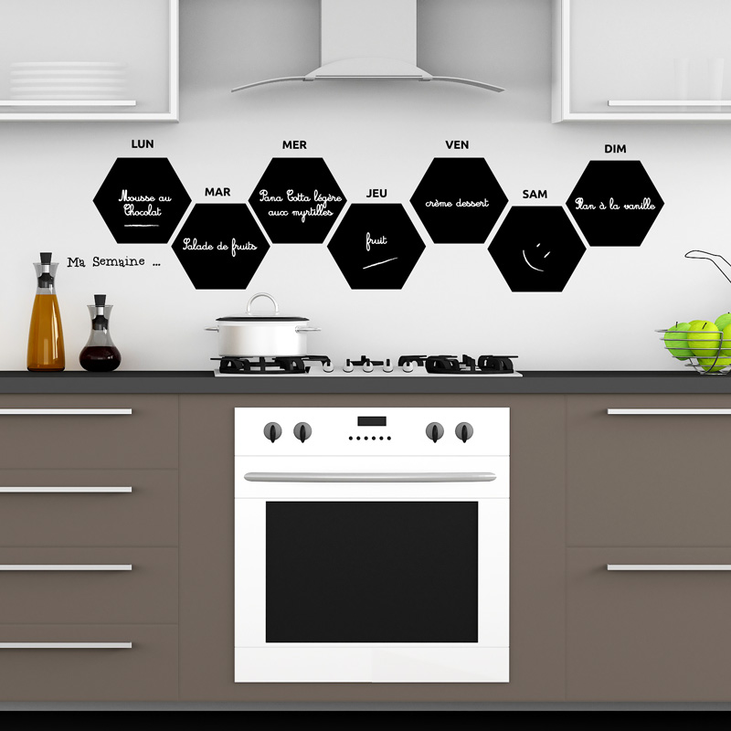 sticker ardoise ma belle petite semaine cuisine ardoise ambiance sticker. Black Bedroom Furniture Sets. Home Design Ideas