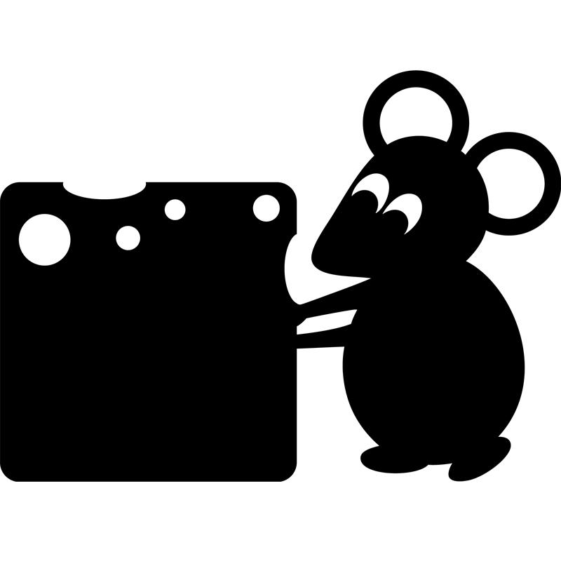 sticker ardoise souris avec un fromage stickers salle de. Black Bedroom Furniture Sets. Home Design Ideas