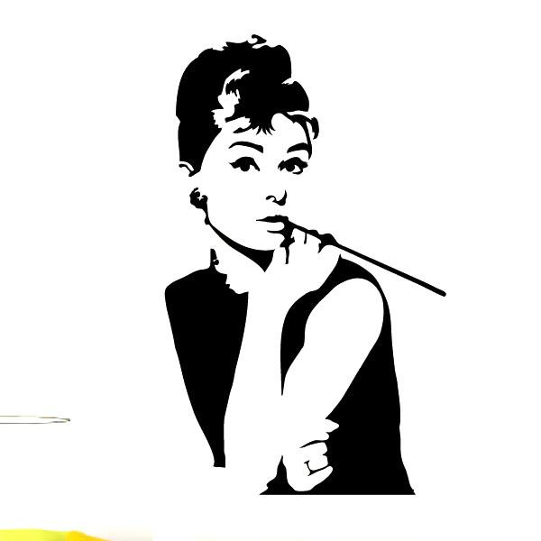 Stickers muraux cinéma - Sticker Audrey Hepburn | Ambiance-sticker.com
