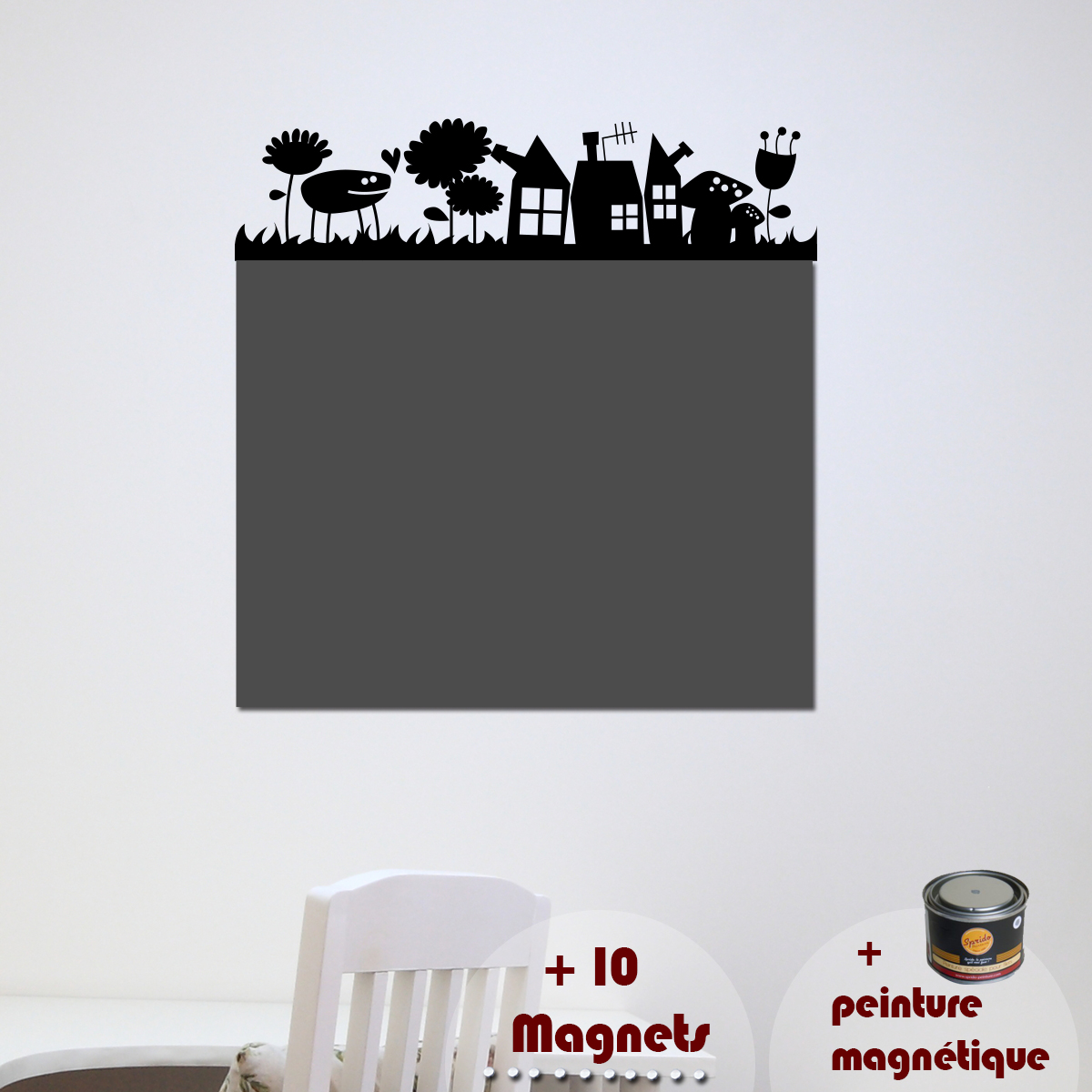 papier peint magn tique peinture magn tique avec sticker herbe ambiance. Black Bedroom Furniture Sets. Home Design Ideas