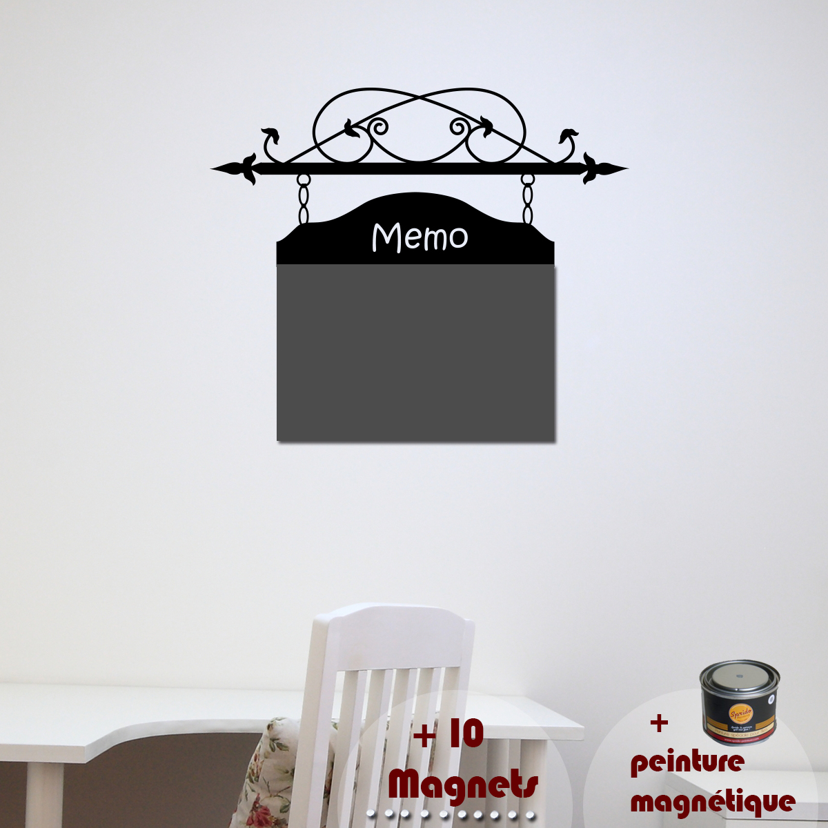 papier peint magn tique peinture magn tique avec sticker memo ambiance. Black Bedroom Furniture Sets. Home Design Ideas