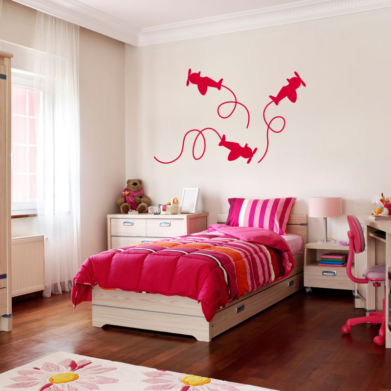 sticker avions accrobatique stickers salle de jeux. Black Bedroom Furniture Sets. Home Design Ideas