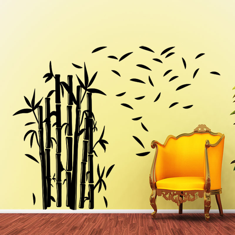 sticker bambous et ses feuilles volantes stickers nature feuilles ambiance sticker. Black Bedroom Furniture Sets. Home Design Ideas