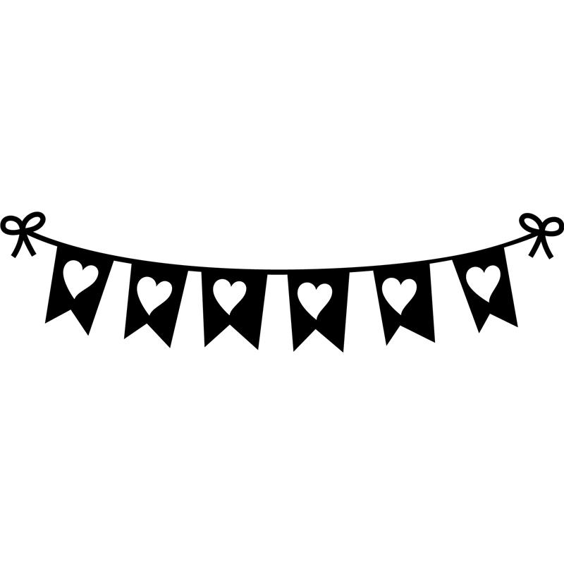 Sticker banderoles en coeurs stickers filles coeurs - Dessin banderole ...