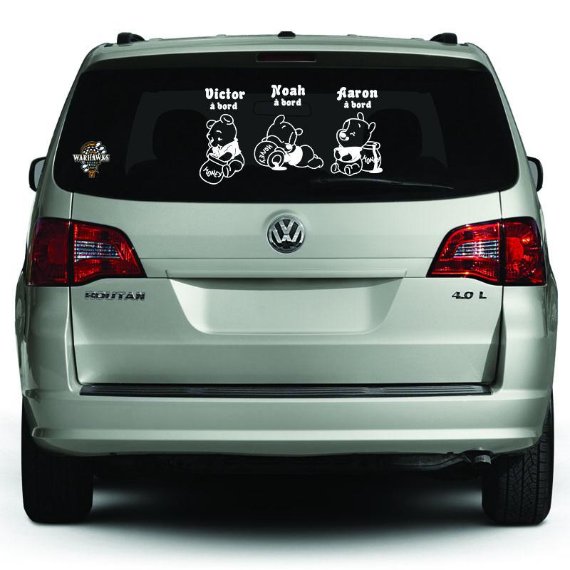 Sticker b b bord personnalis et ses 3 oursons - Voiture 3 portes et bebe ...