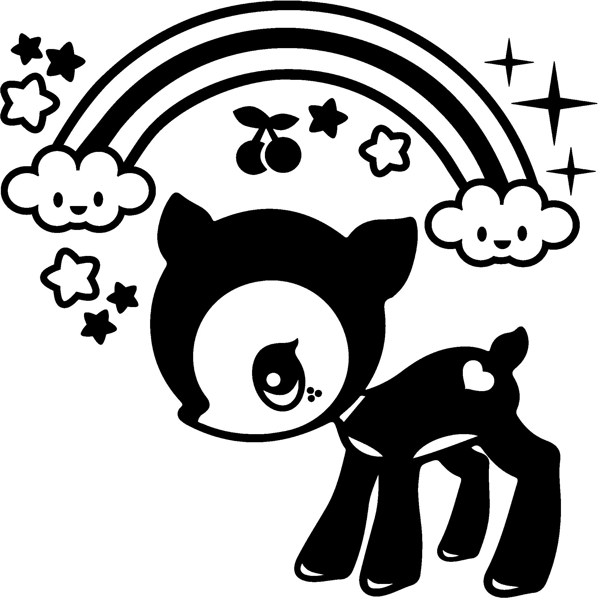 Sticker bébé biche sous l arc en ciel – Stickers Chambre Ado Fille