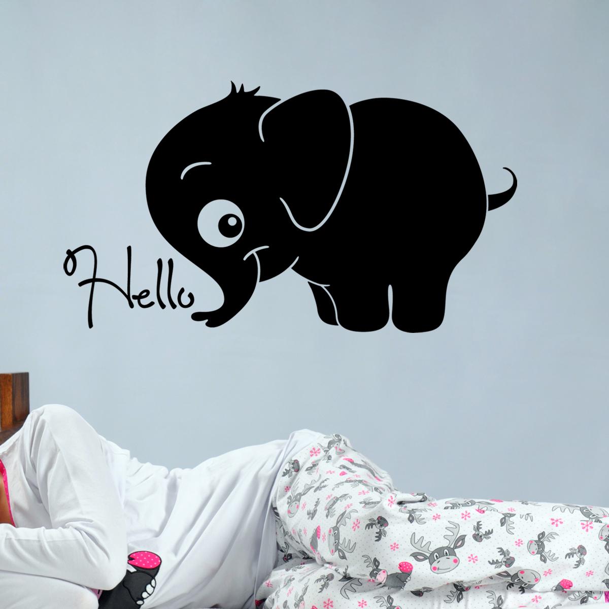 stickers muraux animaux sticker b b l phant bonjour. Black Bedroom Furniture Sets. Home Design Ideas
