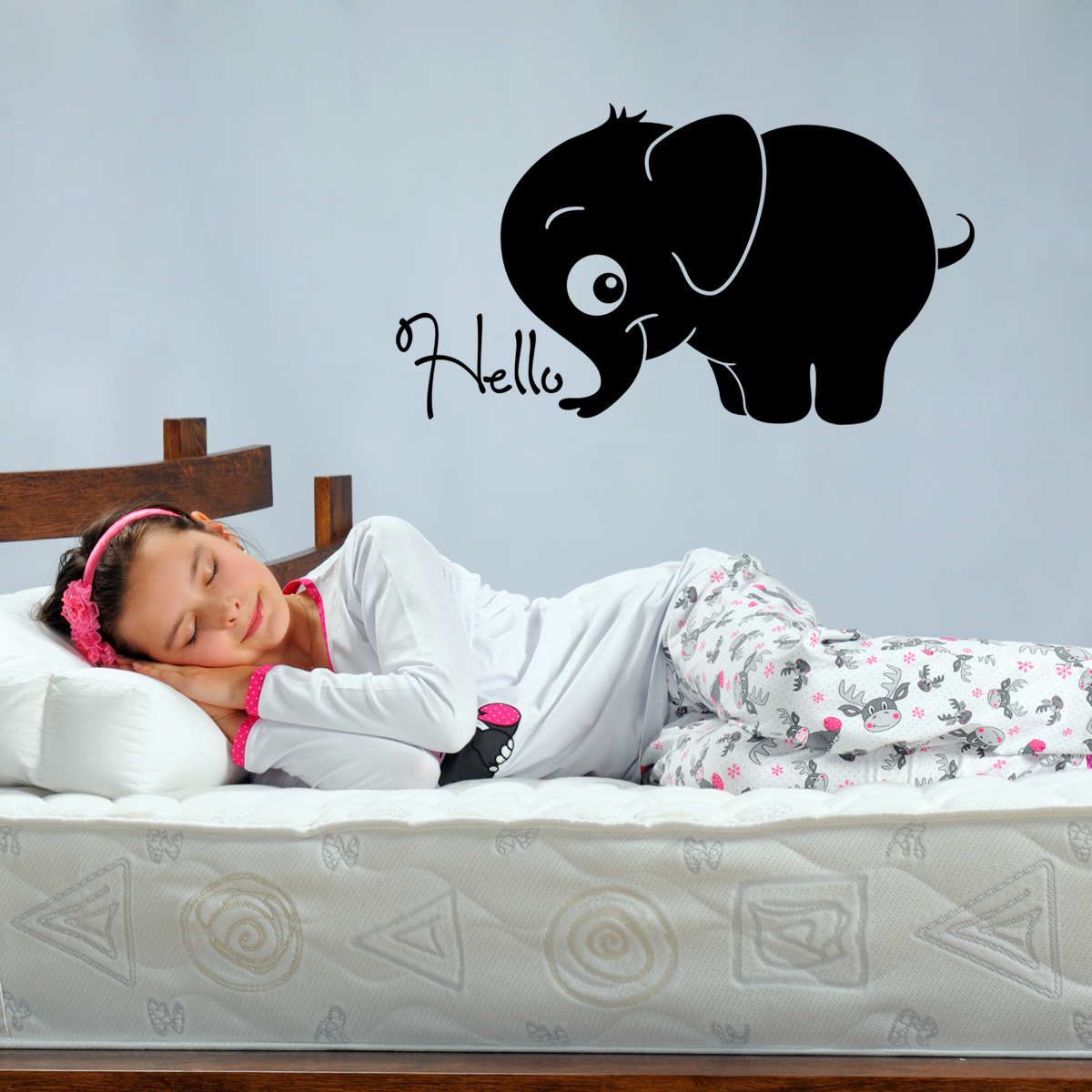 stickers muraux animaux sticker b b l phant bonjour ambiance. Black Bedroom Furniture Sets. Home Design Ideas