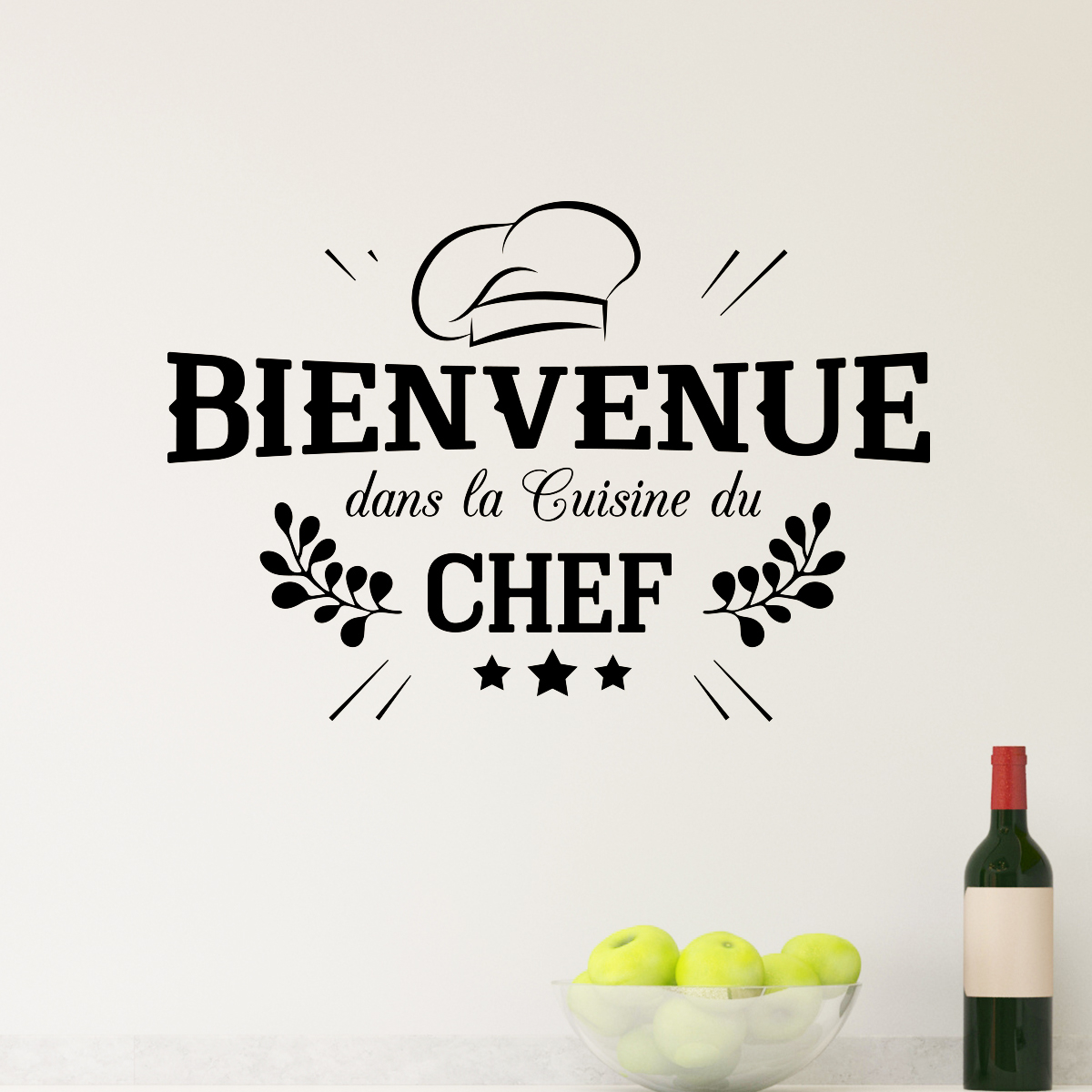 sticker bienvenue cuisine du chef stickers cuisine textes et recettes ambiance sticker. Black Bedroom Furniture Sets. Home Design Ideas