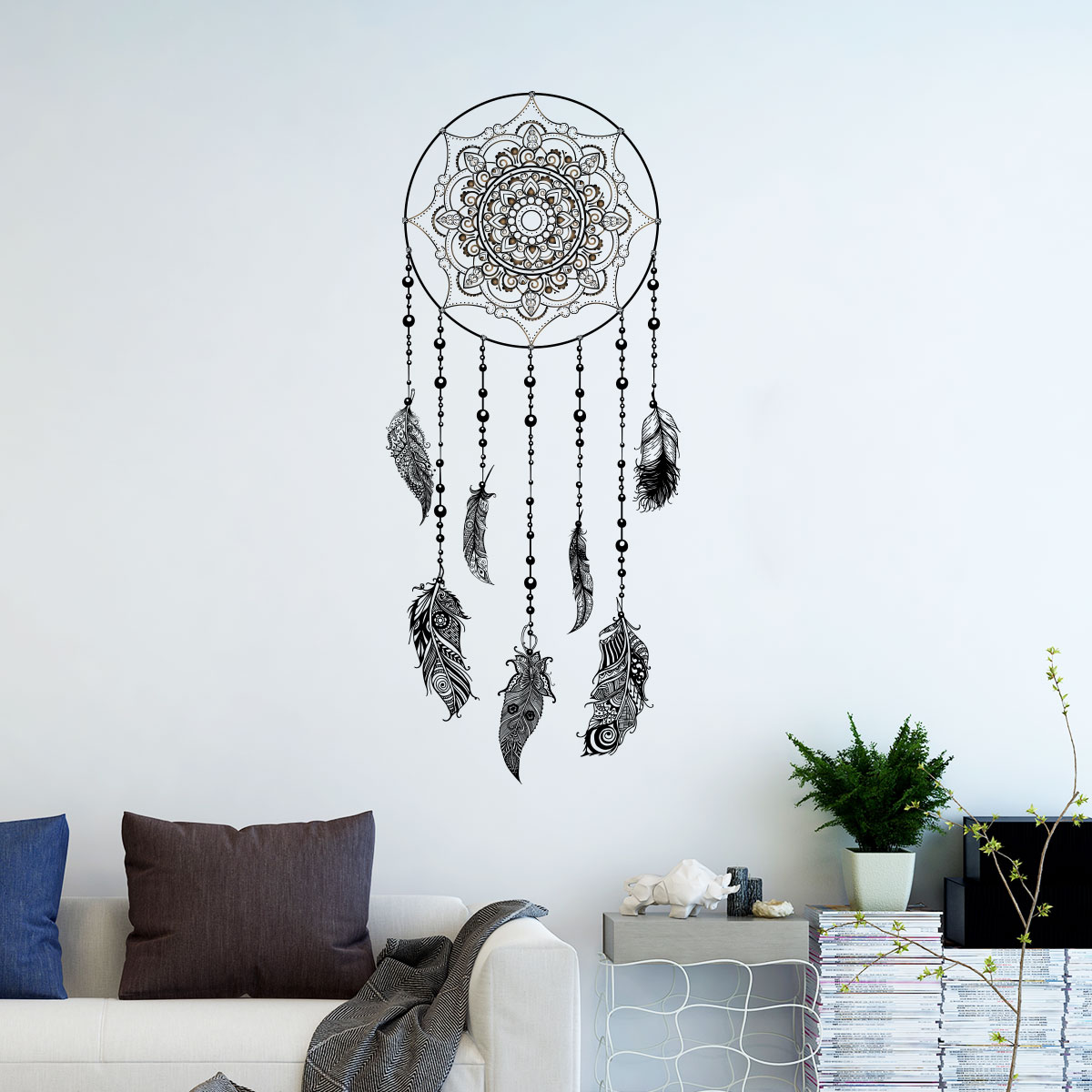 sticker boh me attrape r ves avec plumes chic stickers. Black Bedroom Furniture Sets. Home Design Ideas