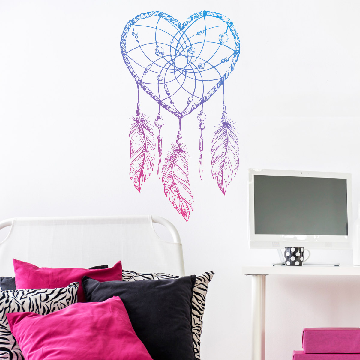 sticker boh me attrape r ves c ur et plumes stickers. Black Bedroom Furniture Sets. Home Design Ideas