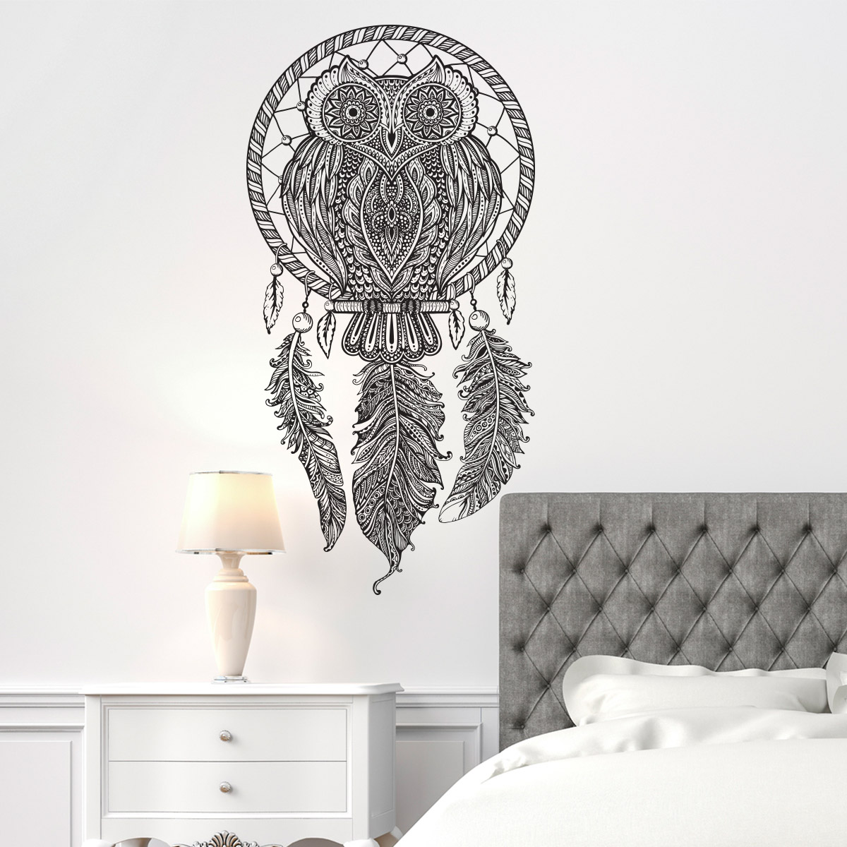 sticker boh me attrape r ves hibou stickers chambre. Black Bedroom Furniture Sets. Home Design Ideas