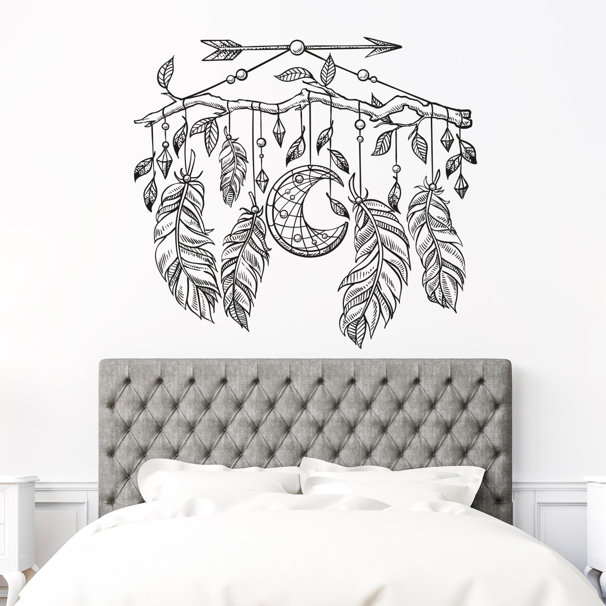 sticker boh me attrape r ves lune et plumes stickers. Black Bedroom Furniture Sets. Home Design Ideas
