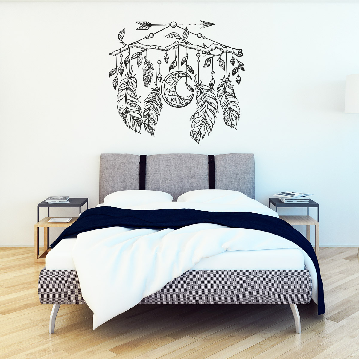 sticker boh me attrape r ves lune et plumes stickers chambre t tes de lit ambiance sticker. Black Bedroom Furniture Sets. Home Design Ideas