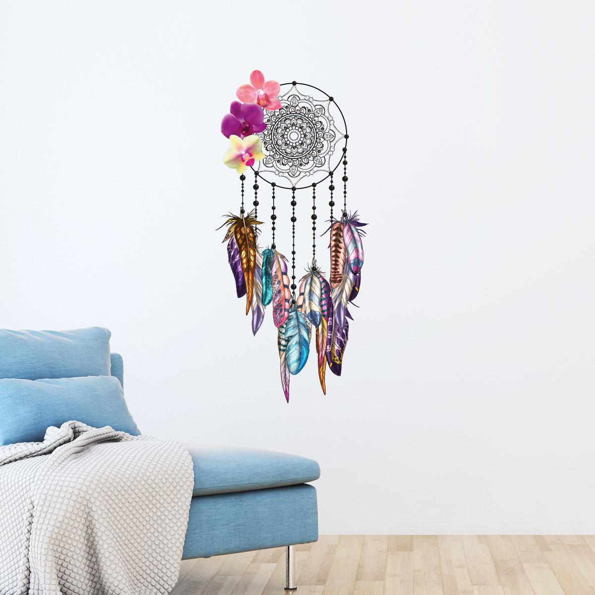 sticker boh me attrape r ves plumes et les orchid es. Black Bedroom Furniture Sets. Home Design Ideas