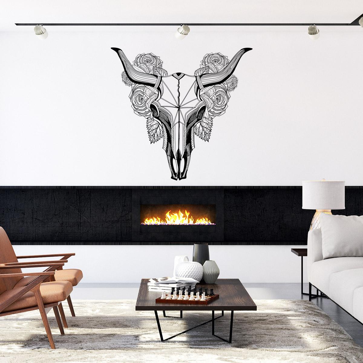 sticker boh me t te de buffle avec fleurs stickers. Black Bedroom Furniture Sets. Home Design Ideas