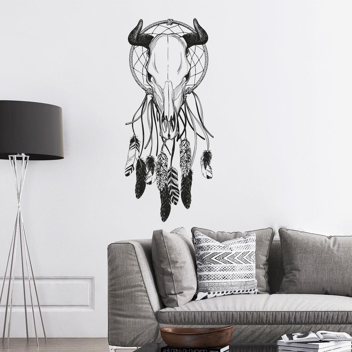 sticker boh me t te de buffle avec plumes stickers. Black Bedroom Furniture Sets. Home Design Ideas