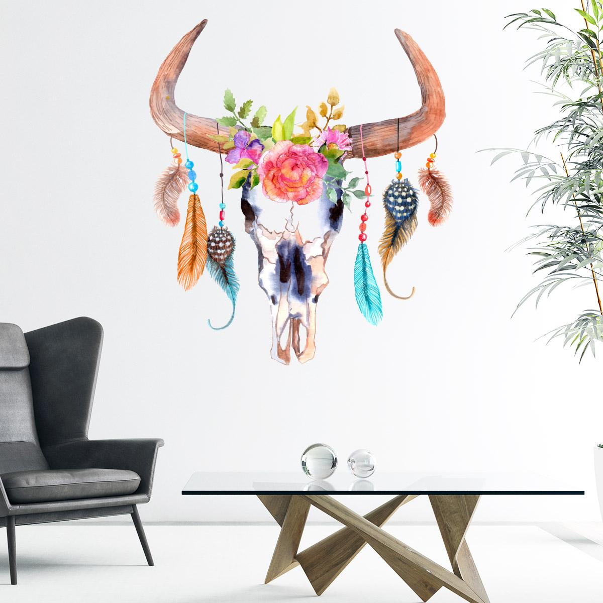 sticker boh me t te de buffle avec plumes color stickers nature fleurs ambiance sticker. Black Bedroom Furniture Sets. Home Design Ideas