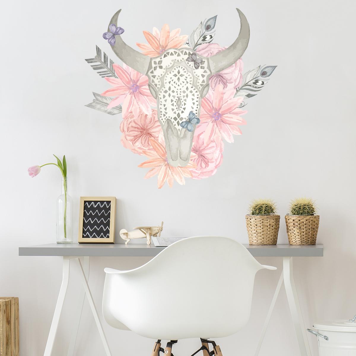 sticker boh me t te de buffle romantique stickers nature. Black Bedroom Furniture Sets. Home Design Ideas