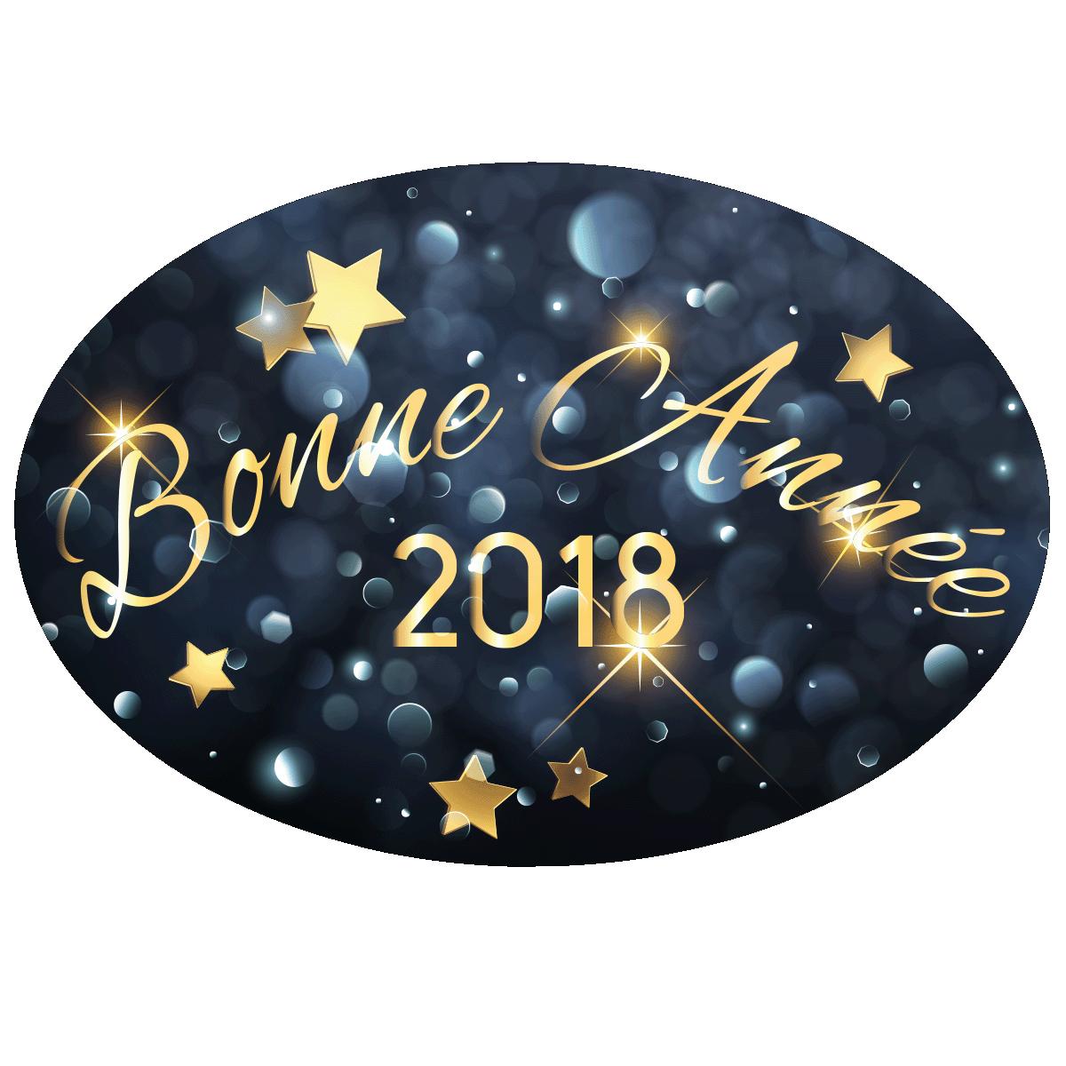 sticker bonne ann e 2018 stickers professionnels stickers vitrine magasin ambiance sticker. Black Bedroom Furniture Sets. Home Design Ideas