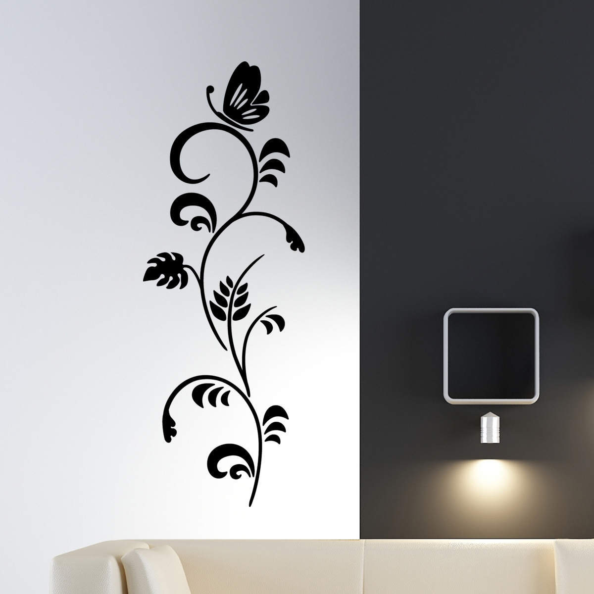 sticker mural branche papillon stickers fleurs ambiance. Black Bedroom Furniture Sets. Home Design Ideas