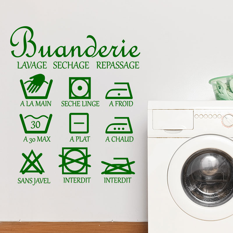 Sticker buanderie lavage sechage stickers stickers - Logo lavage machine ...