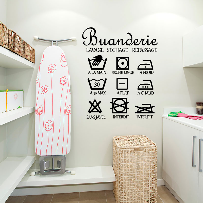 Sticker buanderie lavage sechage stickers stickers for Lavage de fenetre