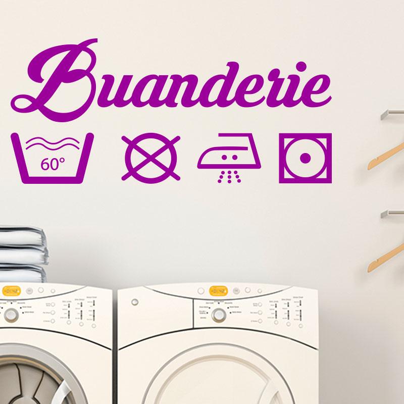 sticker buanderie signal tique stickers stickers maison buanderie ambiance sticker. Black Bedroom Furniture Sets. Home Design Ideas