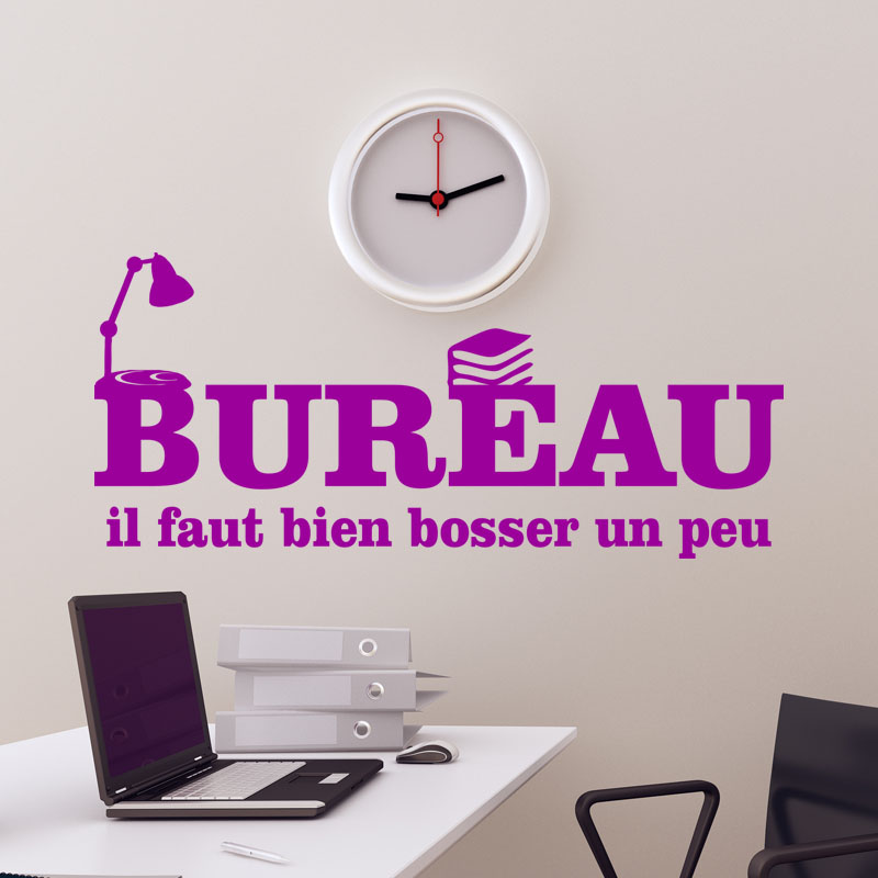 sticker bureau il faut bien bosser un peu stickers citations humour ambiance sticker. Black Bedroom Furniture Sets. Home Design Ideas