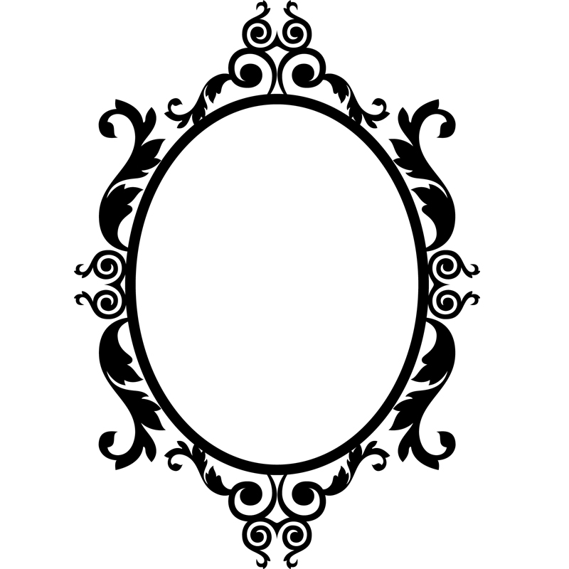 Stickers muraux baroque sticker baroque et cercle for Miroir dessin
