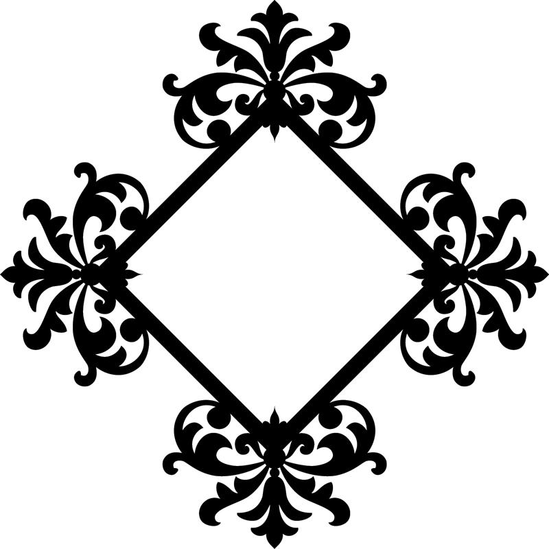 sticker cadre floral baroque stickers nature feuilles ambiance sticker. Black Bedroom Furniture Sets. Home Design Ideas