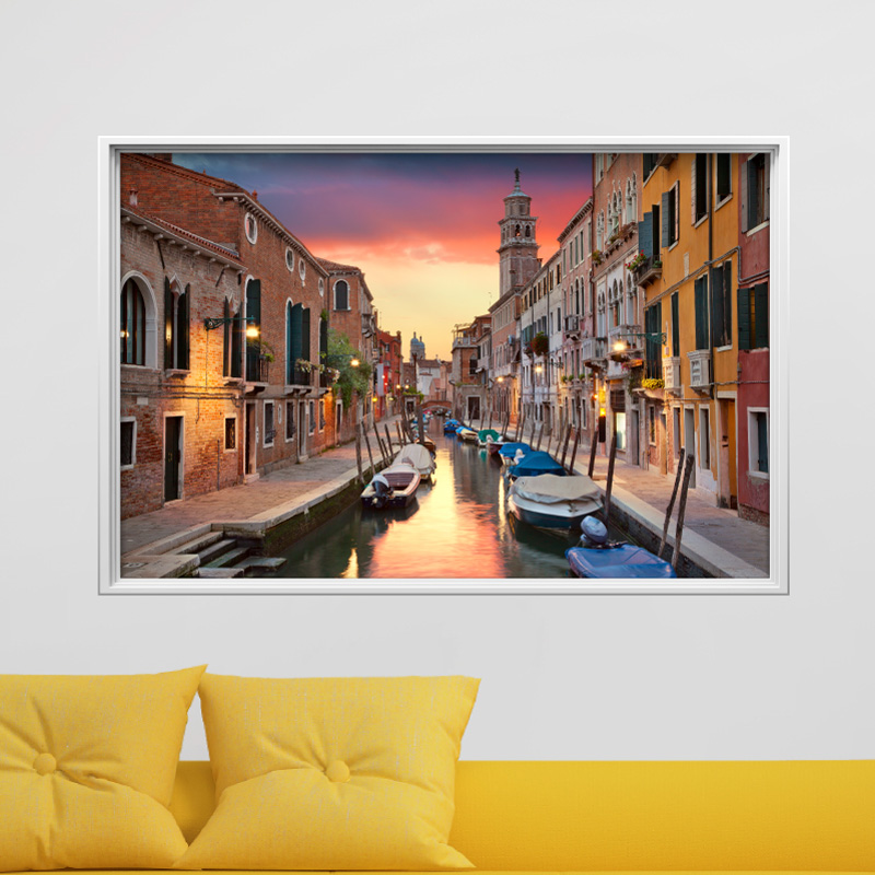 sticker cadre photo coucher de soleil venise stickers villes et voyages pays et voyages. Black Bedroom Furniture Sets. Home Design Ideas