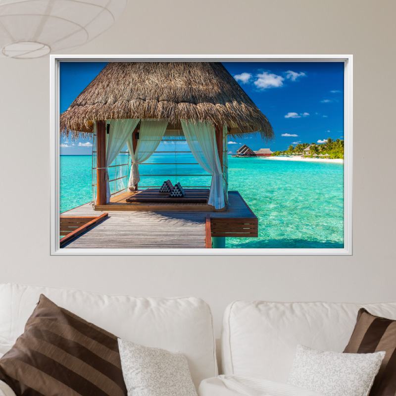 sticker cadre photo paysage idyllique stickers art et design artistiques ambiance sticker. Black Bedroom Furniture Sets. Home Design Ideas