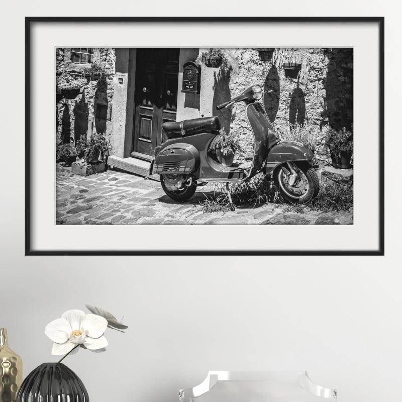sticker cadre photo scooter vintage stickers art et. Black Bedroom Furniture Sets. Home Design Ideas