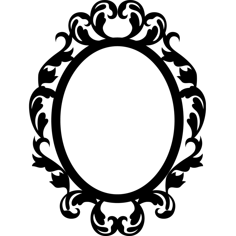 Stickers muraux baroque sticker cercle style mirroir for Dessin miroir bris