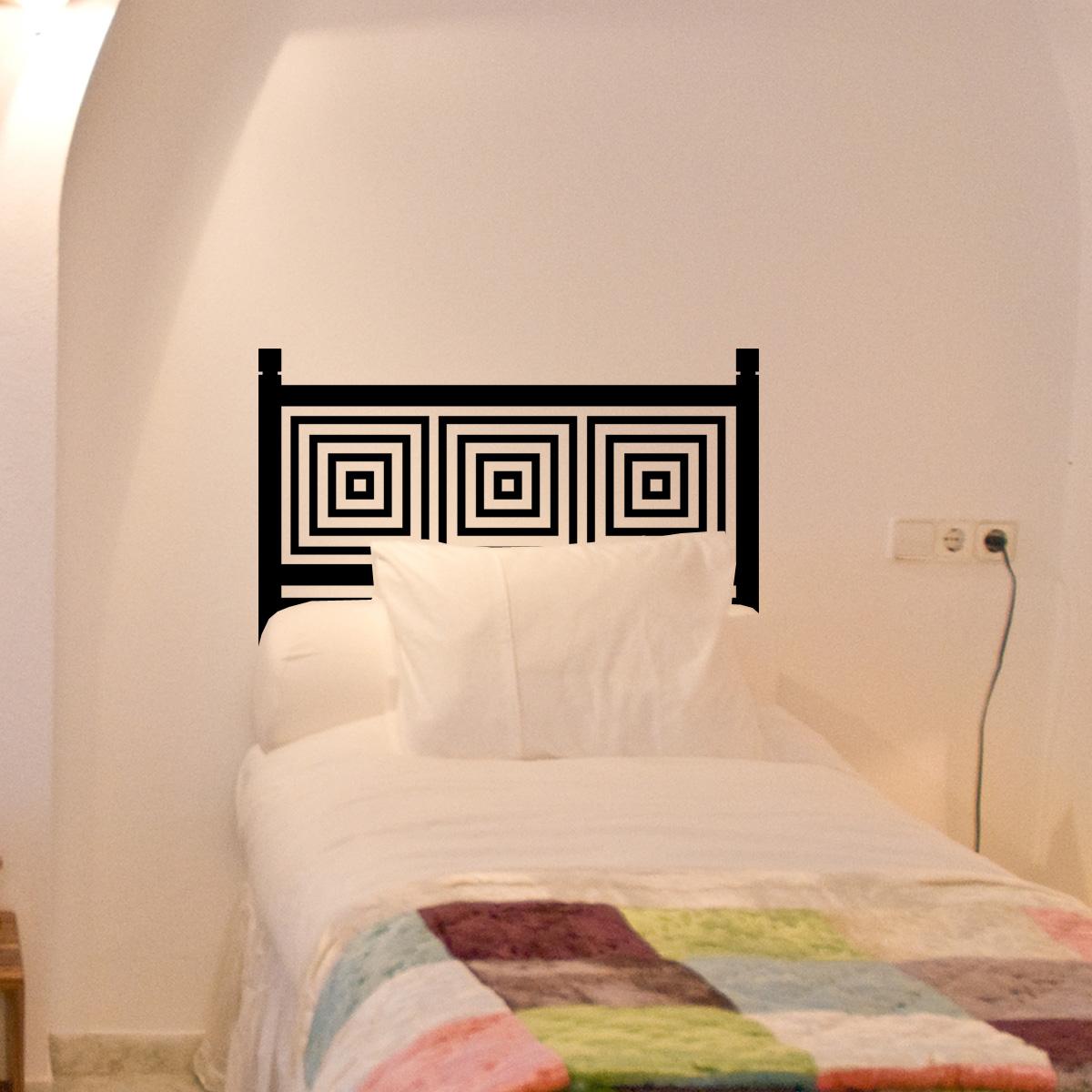 stickers muraux t tes de lit sticker mural carr s concentriques ambiance. Black Bedroom Furniture Sets. Home Design Ideas