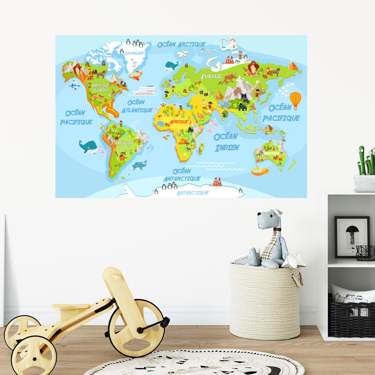 sticker carte du monde ducatif pour les enfants. Black Bedroom Furniture Sets. Home Design Ideas