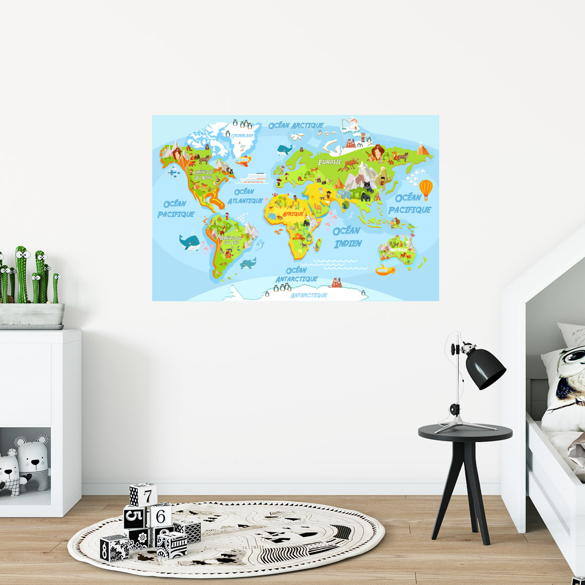 sticker carte du monde ducatif pour les enfants stickers animaux animaux de la jungle. Black Bedroom Furniture Sets. Home Design Ideas