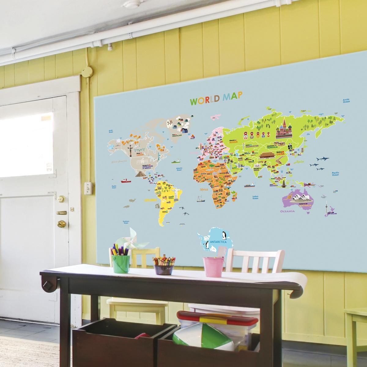 Stickers pour les b b s sticker carte du monde g ante for Autocolant mural