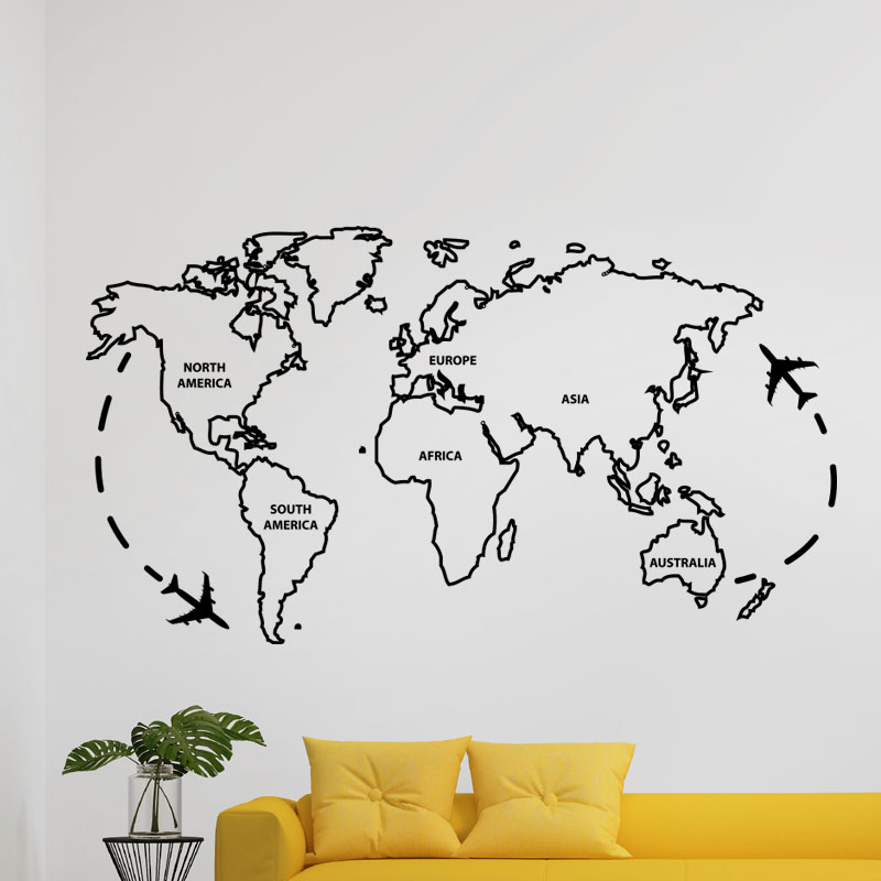 sticker carte du monde ii stickers villes et voyages pays et voyages ambiance sticker. Black Bedroom Furniture Sets. Home Design Ideas