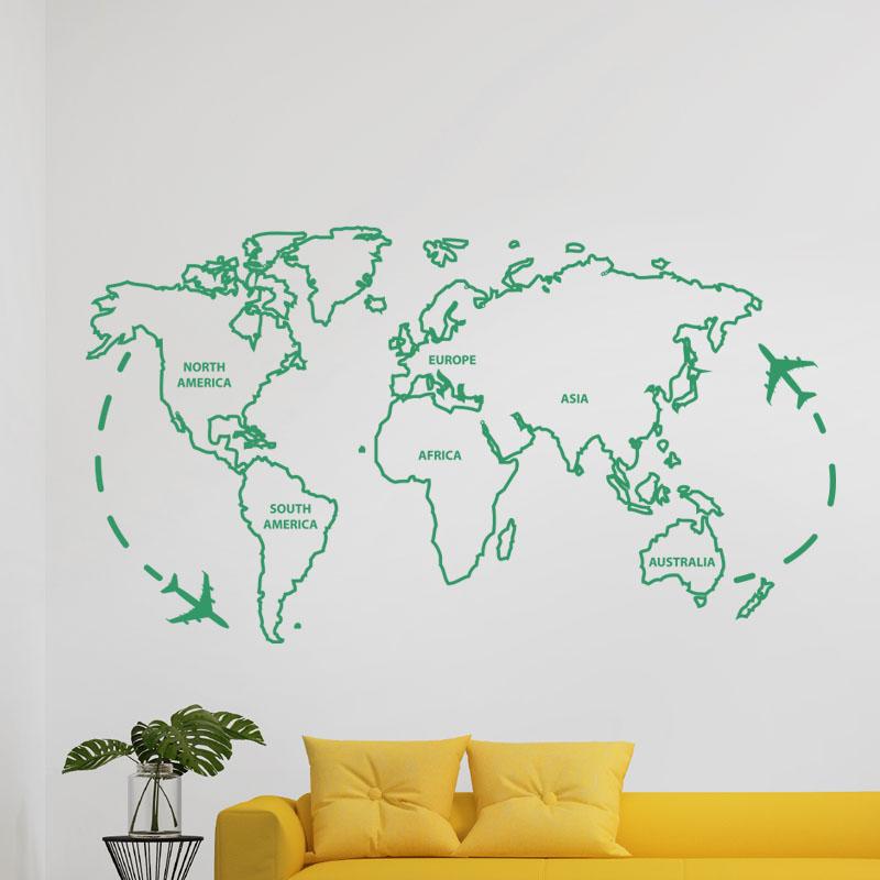sticker carte du monde ii stickers villes et voyages pays et voyages ambiance sticker