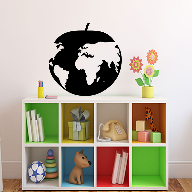 sticker carte du monde pomme stickers cuisine nourriture et fruits ambiance sticker. Black Bedroom Furniture Sets. Home Design Ideas