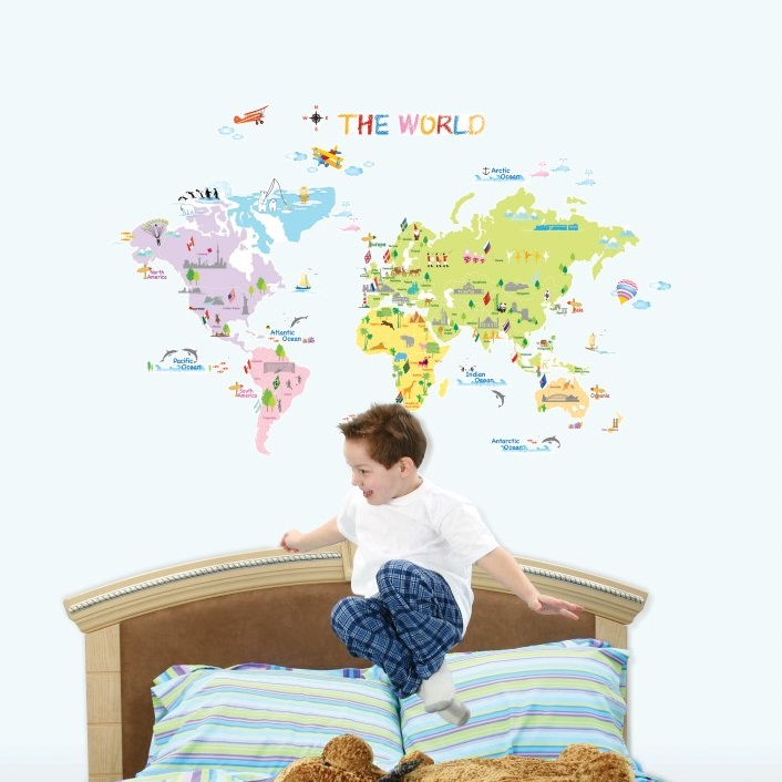 Sticker Carte du monde   Stickers enfants | Ambiance sticker.com
