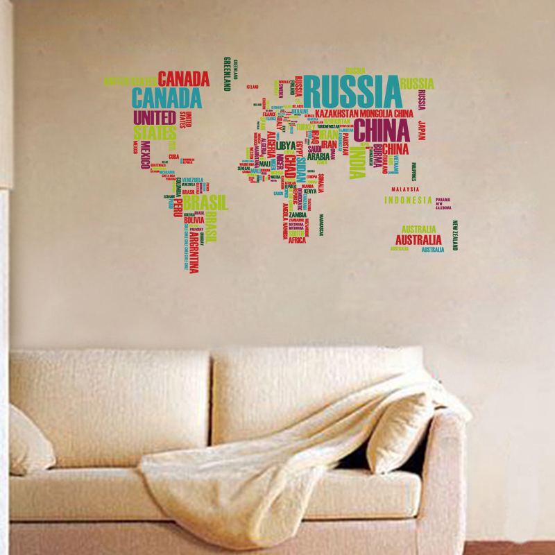 sticker carte du monde r alis e avec les noms de pays stickers villes et voyages ambiance. Black Bedroom Furniture Sets. Home Design Ideas