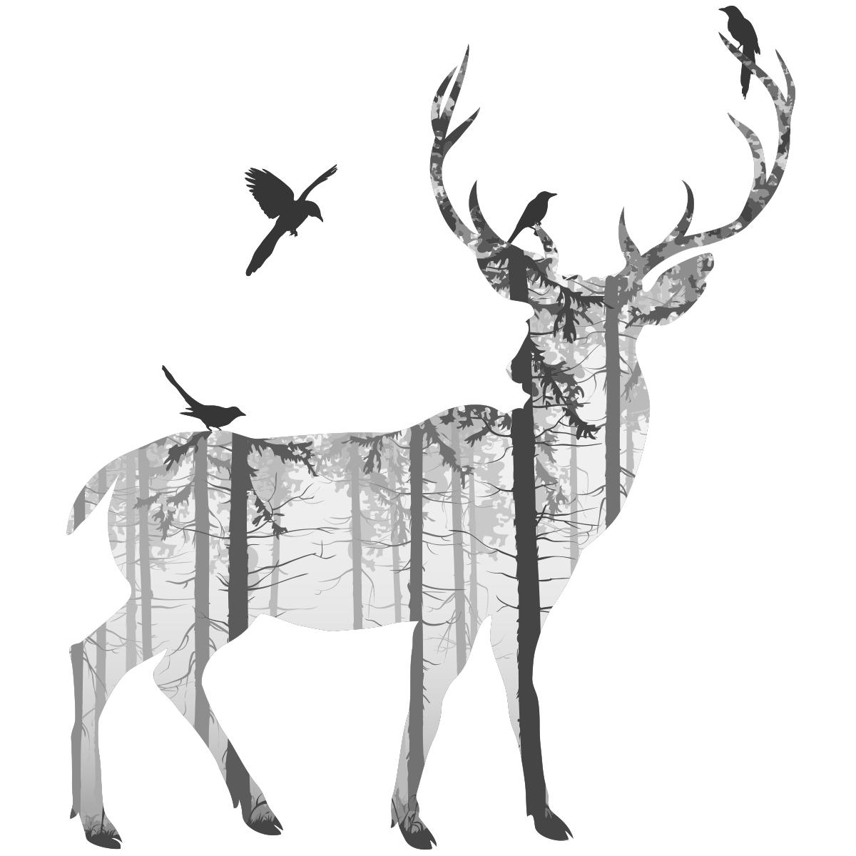 Sticker cerf des bois stickers animaux oiseaux - Dessin bois de cerf ...
