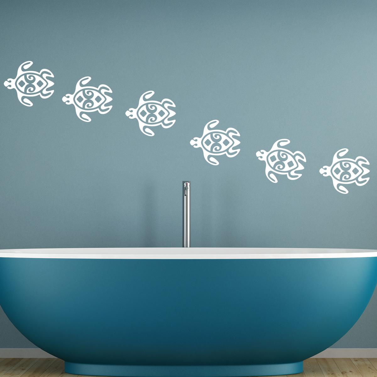 stickers muraux pour salle de bain sticker mural cha ne de tortue ambiance. Black Bedroom Furniture Sets. Home Design Ideas