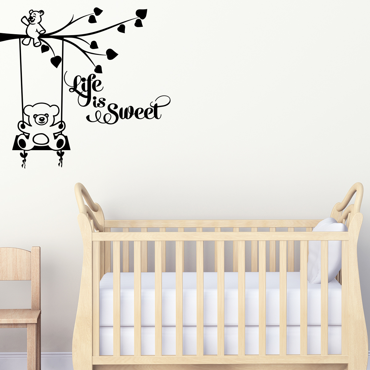 Sticker chambre enfant citation life is sweet stickers for Stickers muraux citations chambre