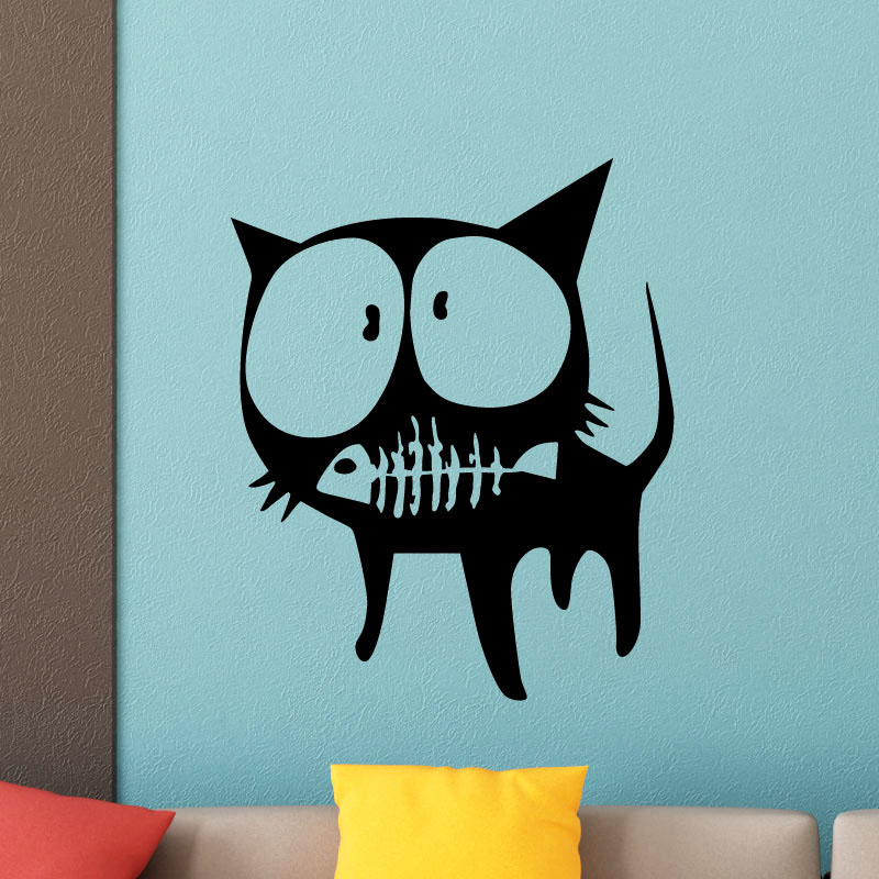 sticker chat avec une squelette de poisson stickers animaux animaux de la ferme ambiance sticker. Black Bedroom Furniture Sets. Home Design Ideas