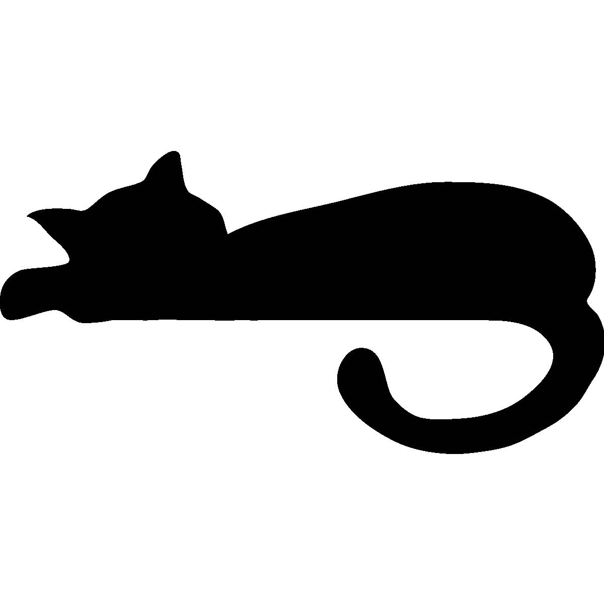 Stickers prises et interrupteurs sticker mural chat - Chat dessin noir et blanc ...